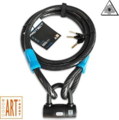 Zwarte Pro-tect Cobalt kabelslot 5 meter lang | ø20mm x 500cm | ART1 en VBV Keuring | Staalkabel met lussen en hangslot | Slot tuinmeubelen terras bootslot Jet Ski