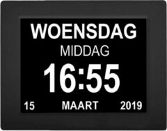 YONO Digitale Kalenderklok Groot – Dementieklok Seniorenklok Alzheimer Klok – Wandklok met Alarm Tijd en Datum Weergave – 8 inch – Zwart
