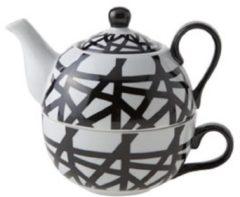 Cosy&Trendy Theepot Met Tas - Zwart - Wit - 35 cl - Porselein - D11.5xh14cm - (Set van 6) En Yourkitchen E-kookboek - Heerlijke Smulrecepten