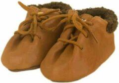 Bruine Dulis babyslofjes lace-up booties cognac
