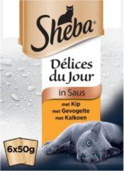 Sheba Délices Du Jour Gevogelte Selectie - Kat - Natvoer - 6 x 50 gr