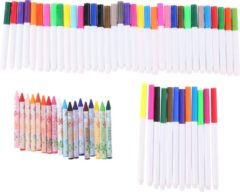 Topwrite Kids tekenset - 65-delig - viltstiften en krijt