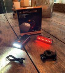 Zwarte RHRQuality Fietslamp voorlicht + achterlicht set- sterke batterij- led- usb oplaadbaar- 1500 L- accu powerbank