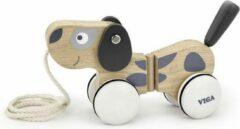 Viga Toys trekfiguur puppy 18 cm grijs/wit