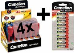 Rode Set 4 Camelion zaklampen inclusief 10x AA batterijen