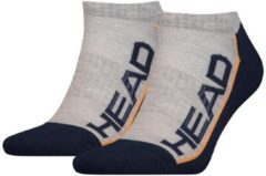 Head - Unisex 2-Pack Performance Sneaker Sokken Grijs Zwart Oranje - 43-46