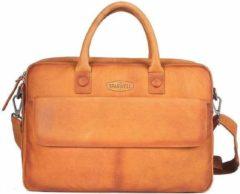 Sparwell tas - Lederen laptoptas 15,6 inch / 16 inch - Aktetas / schoudertas - Bruin / Cognac