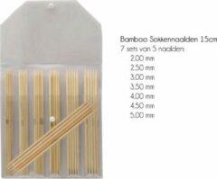 Naturelkleurige KnitPro Bamboo Sokkennaalden (15 cm) - Set