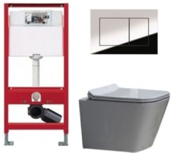 Douche Concurrent Tece Toiletset - Inbouw WC Hangtoilet wandcloset - Alexandria Flatline Rimfree Tece Now Glans Chroom