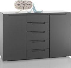 Sideboard in grau mit 5 Schubkästen und Glasplatte Bega Tiger