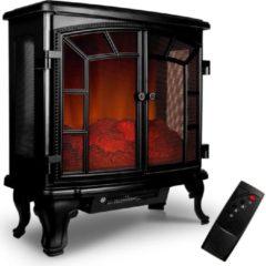 Zwarte Merkloos / Sans marque Monzana Elektrische Sfeerhaard - 2-deurs - met - open - haard - vlameffect - 2000W