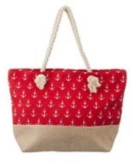 Merkloos / Sans marque Rode strandtas met kleine witte ankers maritiem thema 50 cm - Strandtassen