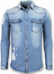 Enos Lange Spijkerblouse - Denim Overhemd Heren - Blauw Casual overhemden heren Heren Overhemd Maat S