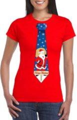 Bellatio Decorations Foute Kerst t-shirt stropdas met kerstman print rood voor dames XS