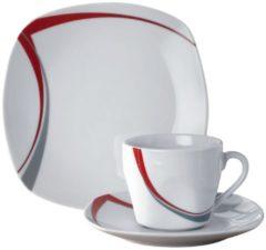 18tlg. Kaffeeservice 'Casa' Van Well weiß/rot/grau