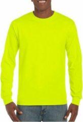 Gildan Heren t-shirt lange mouw lichtgevend geel S