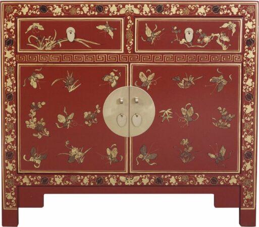 Afbeelding van Rode Fine Asianliving Chinese Kast Handgeschilderde Vlinders Scarlet Rouge - Orientique Collection B90xD40xH80cm Chinese Meubels Oosterse Kast