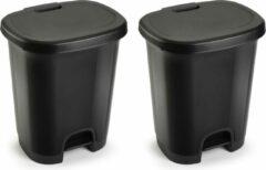 Forte Plastics Set van 2x stuks kunststof afvalemmers/vuilnisemmers/pedaalemmers in het zwart van 27 liter met deksel en pedaal. 38 x 32 x 45 cm.