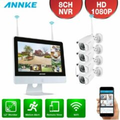 Witte Annke Draadloos 1080P camerabeveiligingssysteem 10 inch monitor 1TB HD/live internet - 4 draadloze camera's - Plug and play