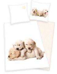 Kinderbettwäsche, Young Collection, »Hunde Welpen«, mit Karo-Wendeseite