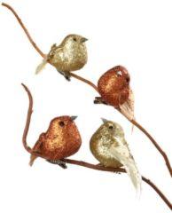4er Set Dekorationsvögel mit Clip Tewa gelb/orange