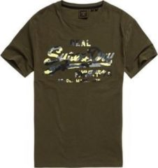 Kaki Superdry Vintage Logo Infill Heren T-shirt - Maat XXL