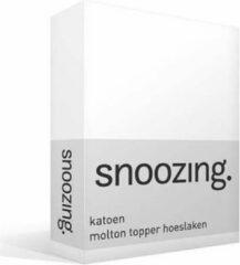 Snoozing katoen topper molton hoeslaken - 100% katoen - 1-persoons (90x220 cm) - Wit