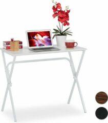 Relaxdays bureau - computertafel - kinderbureau - ruimtebesparend - 76 cm hoog Wit / wit