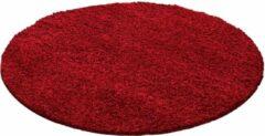Decor24-AY Hoogpolig vloerkleed Life - rood - rond - O 80 cm