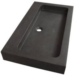 Saniclass Black Spirit meubelwastafel 80cm 1 wasbak 0 kraangaten natuursteen zwart 2380