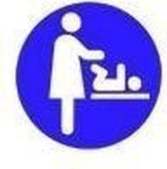 HygieneShopBasics Babyverschoontafel sticker vrouw - Leverbaar in blauw, bruin rood en groen