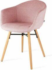 Nolon Nena eetkamerstoel - Zacht roze gestoffeerde zitting met armleuningen