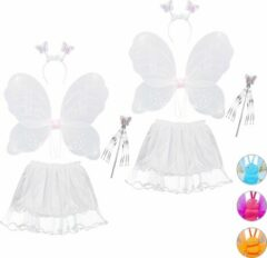 Witte Relaxdays 2 x fee kostuum kinderen - vlindervleugels - kinderkostuum - toverstaf – diadeem