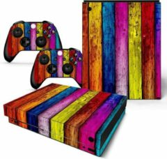 Paarse Merkloos / Sans marque Xbox One X Sticker   Xbox One X Console Skin  Colored Wood   Xbox One X Gekleurd Hout Skin Sticker   Console Skin + 2 Controller Skins