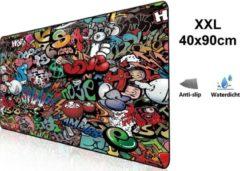 Beactiff Muismat Gaming XXL 90x40cm bureau onderlegger | Gaming Muismat | Mousepad | Pro Muismat XXL | Anti-slip | Desktop Mat | Computer Mat | Grafitti Art Edition uitvoering
