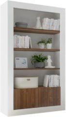 Pesaro Mobilia Open boekenkast Urbino 190 cm hoog in hoogglans wit met walnoot