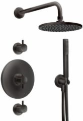 Beterbad Xenz Inbouw Regendoucheset Xenz Duero Thermostatisch met Stopkranen 20 cm met Handdouche Mat Zwart