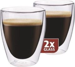 Transparante Koffieglazen Dubbelwandig, set van 6 - Maxxo