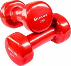 TecTake - set van 2 Dumbbells, 2 x 3,0 kilogram - rood - 402360