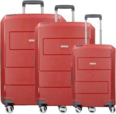 Makro 4-Rollen Kofferset 3tlg Travelite rot
