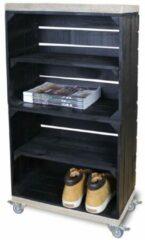 Steigerhoutpassie Schoenenkast - Mobiel - Zwart - Legplank Zwart Lang - 50x30x93 cm