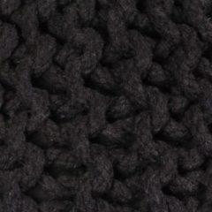 VidaXL Poef handgebreid 50x35 cm katoen zwart