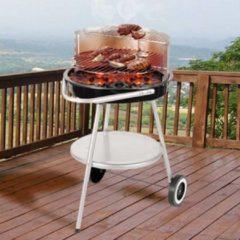 Zwarte BBQ Houtskool Barbecue op Wieltjes met Aanpasbaar Rooster