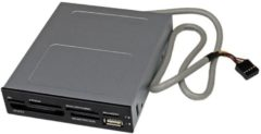 StarTech Lettore per schede di memoria multimediali Cables USB 2.0 22 in 1 alloggiamento frontale 3,5'' - colore nero