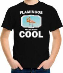 Bellatio Decorations Dieren flamingo vogels t-shirt zwart kinderen - flamingos are serious cool shirt jongens/ meisjes - cadeau shirt flamingo/ flamingo vogels liefhebber XL (158-164)