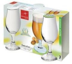 Transparante Merkloos / Sans marque 3x speciaalbier glazen - 375 ml - tulpvormige bierglazen