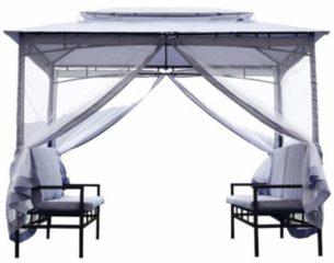 Outsunny Pavillon Gartenpavillon mit Sitzbank Seitenwände Stahl Grau Pavillon Partyzelt Luxuspavillon Gartenzelt