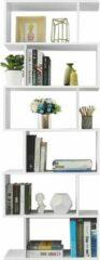 Acaza Boekenkast met Open Schappen - Boekenrek of Kast voor Boeken en Planten met 6 Compartimenten - 190,5 cm Hoog en 70 cm Breed - Wit