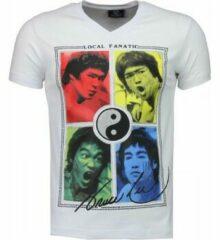 Witte T-shirt Korte Mouw Local Fanatic Bruce Lee Ying Yang - T-shirt