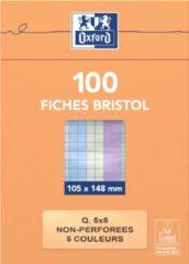 OXFORD flashcards ongeperforeerd, ft 105 x 148 mm, geruit 5 mm, geassorteerde kleuren, pak van 100 vel